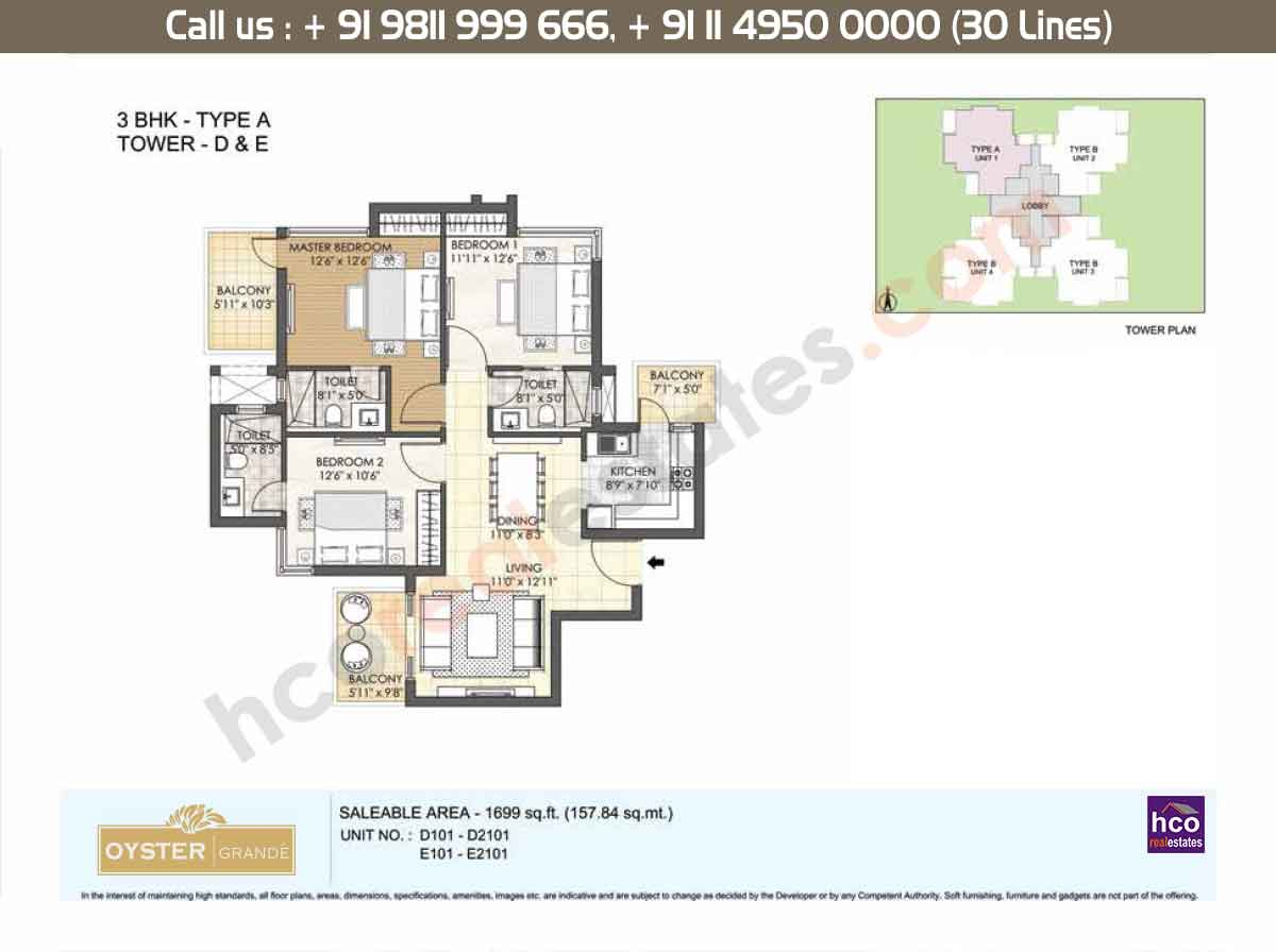 3 BHK - Type - A, Tower - D,E: 1699 Sq. Ft.