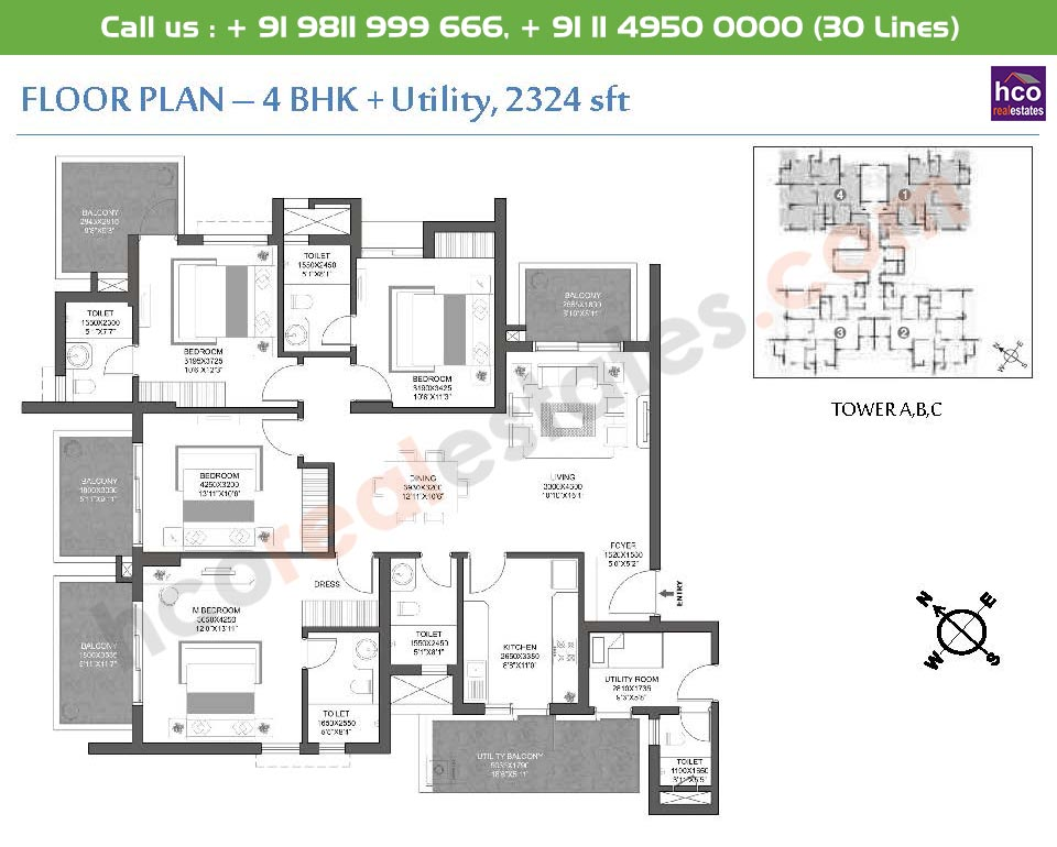 4 BHK + Utility: 2324 Sq.Ft.