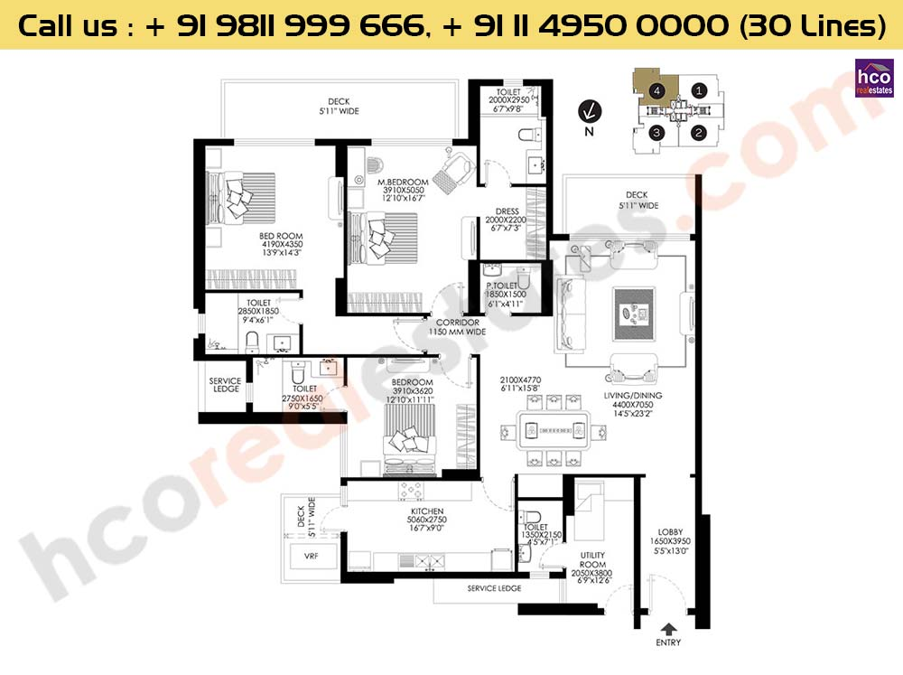 3 BHK + Utility Apt No 4 First Floor : 2644 Sq.Ft.