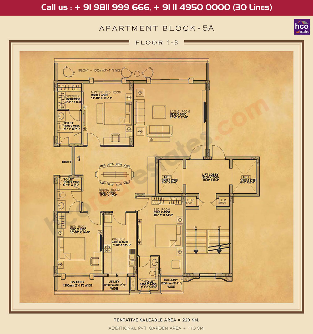 First, Second & Third Floor : 2400 + 1184 Sq.Ft.