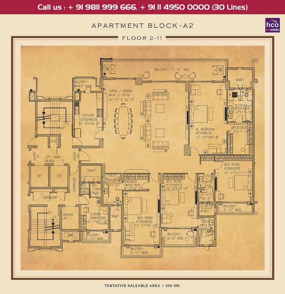 Second to Eleventh Floor Plan : 5489 Sq.Ft.