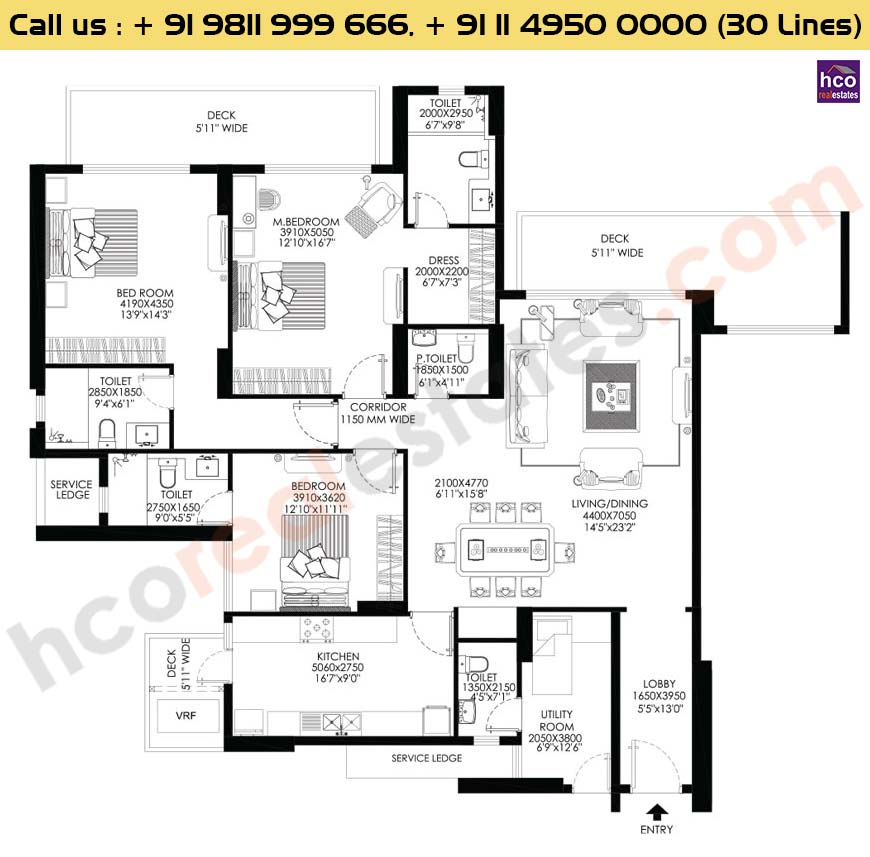 3 BHK+Utility Apt No 2 First Floor : 2767 Sq.Ft.