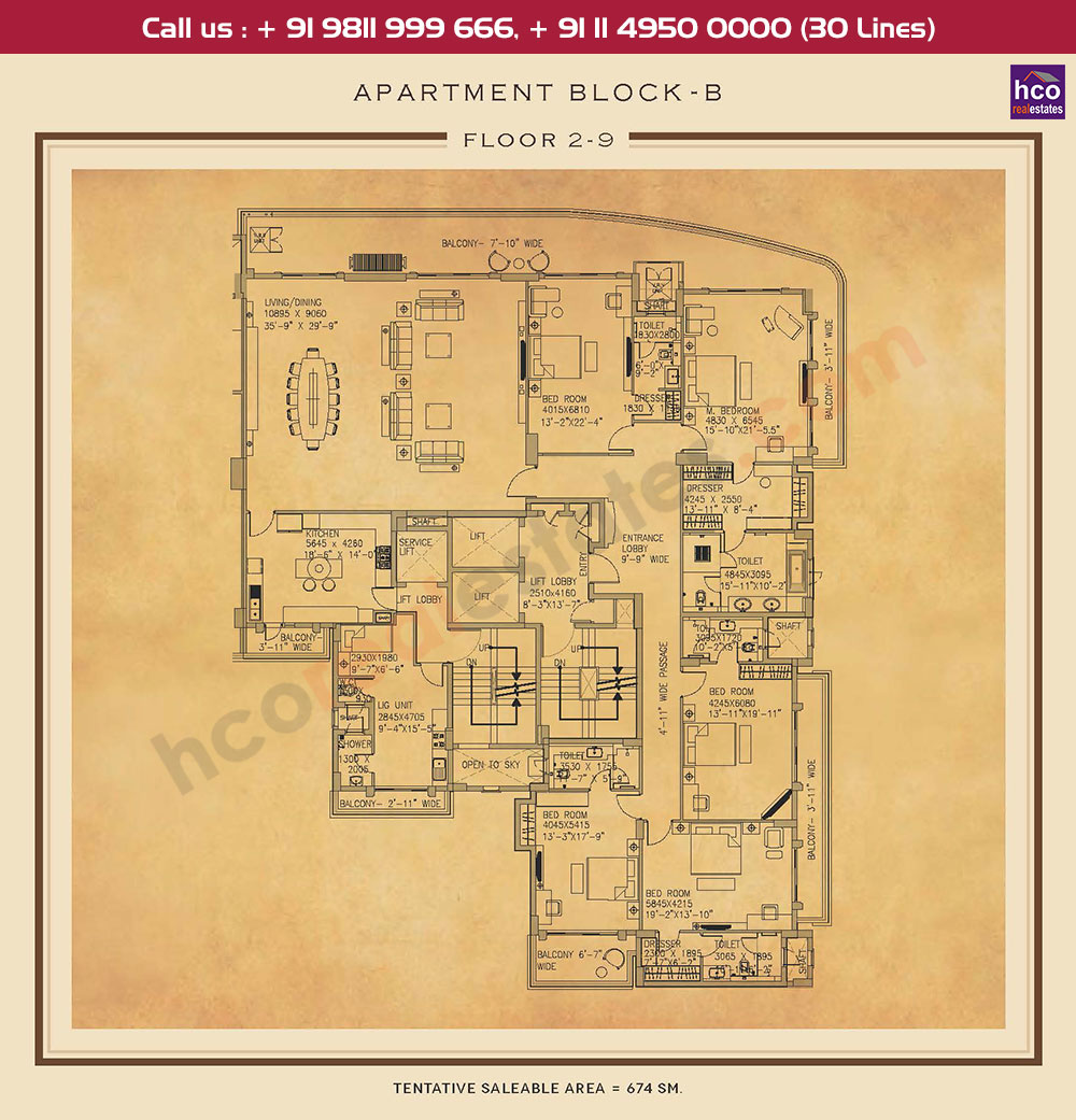 Second to Ninth Floor Plan : 7255 Sq.Ft.