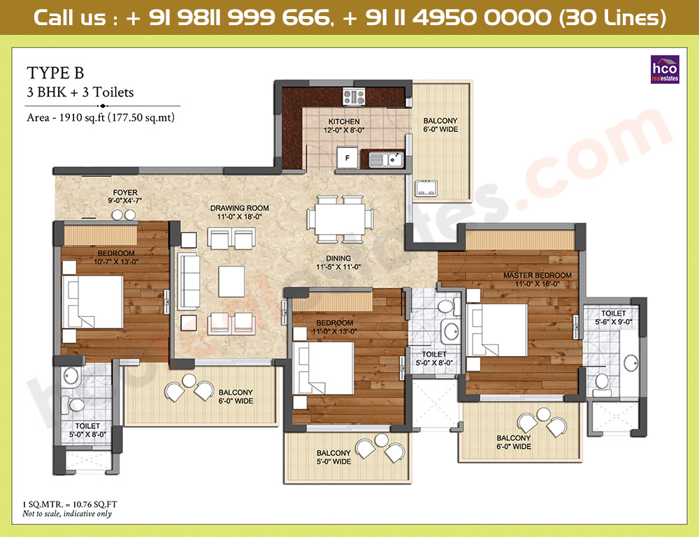 3 BHK + 3 Toilets: 1910 Sq.Ft.