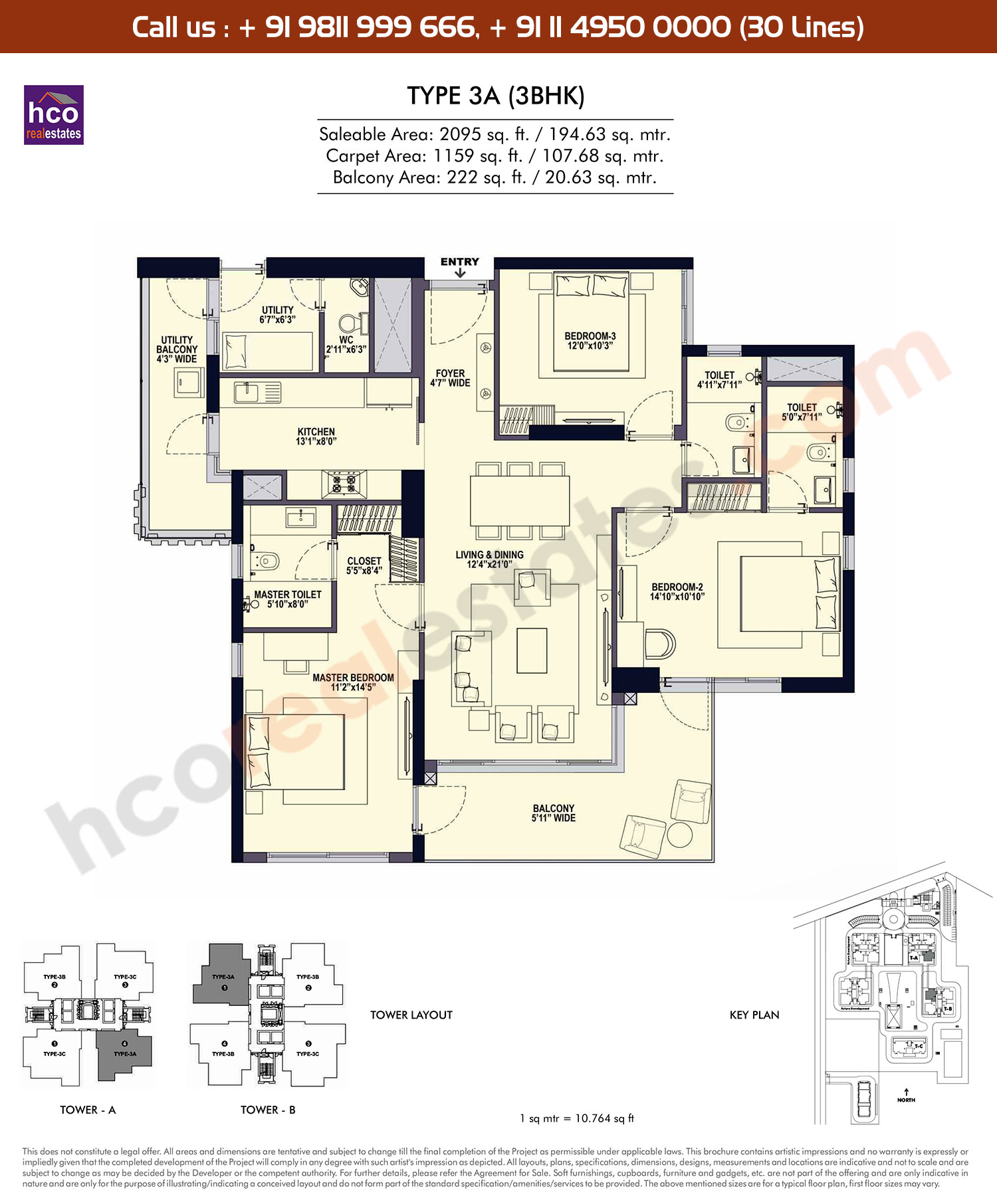 3 BHK, Type - 3A: 2095 Sq. Ft.