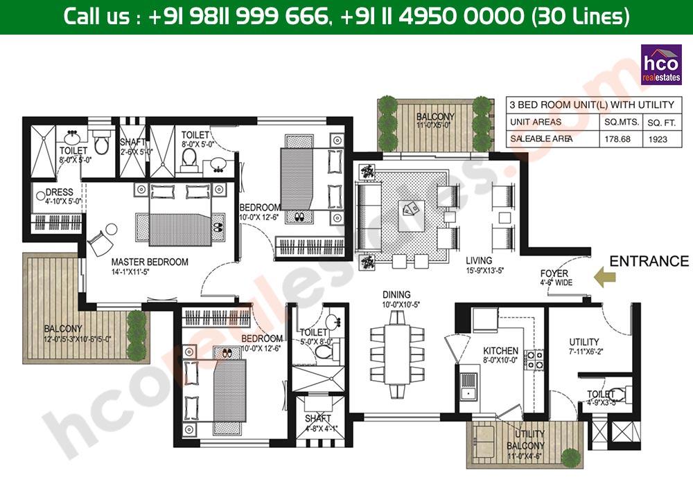 3 BHK + Utility Floor Plan: 1923 Sq. Ft.