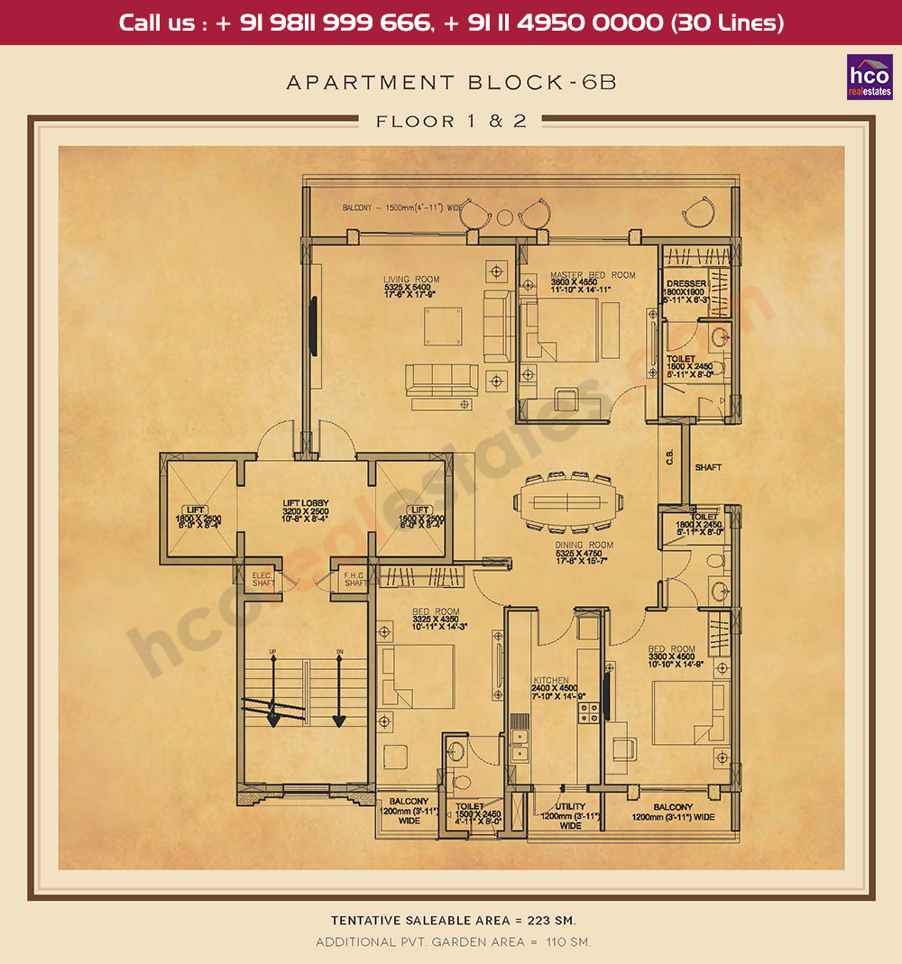 First & Second Floor Plan : 2400 + 1184 Sq.Ft.