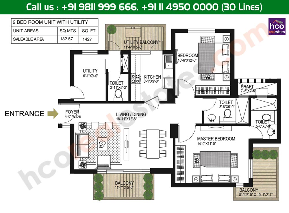 2 BHK + Utility Floor Plan: 1427 Sq. Ft.
