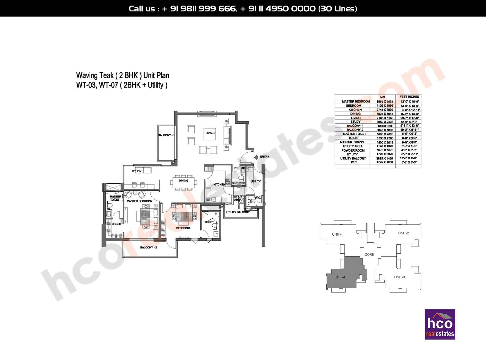 2 BHK + Utility: 2441 Sq. Ft.