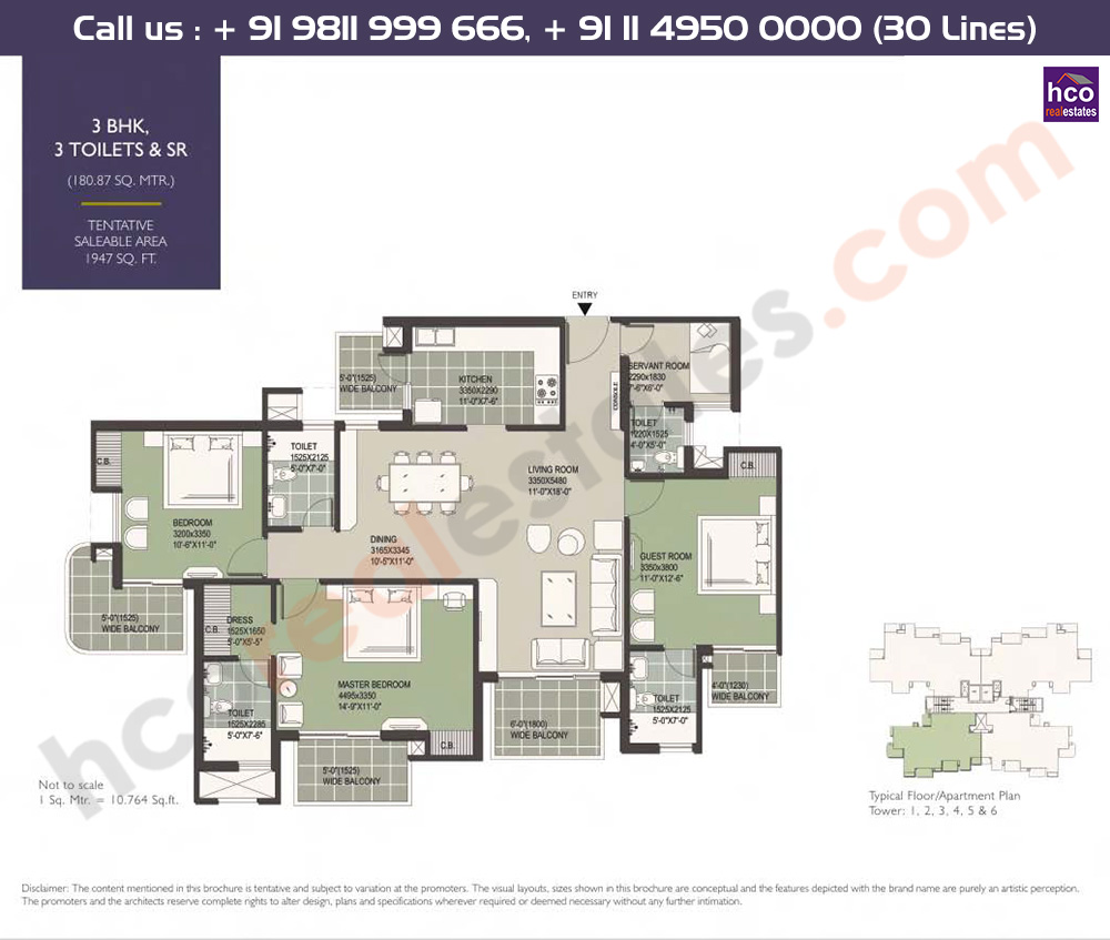 3 BHK + 3T + Servant: 1947 Sq.Ft.