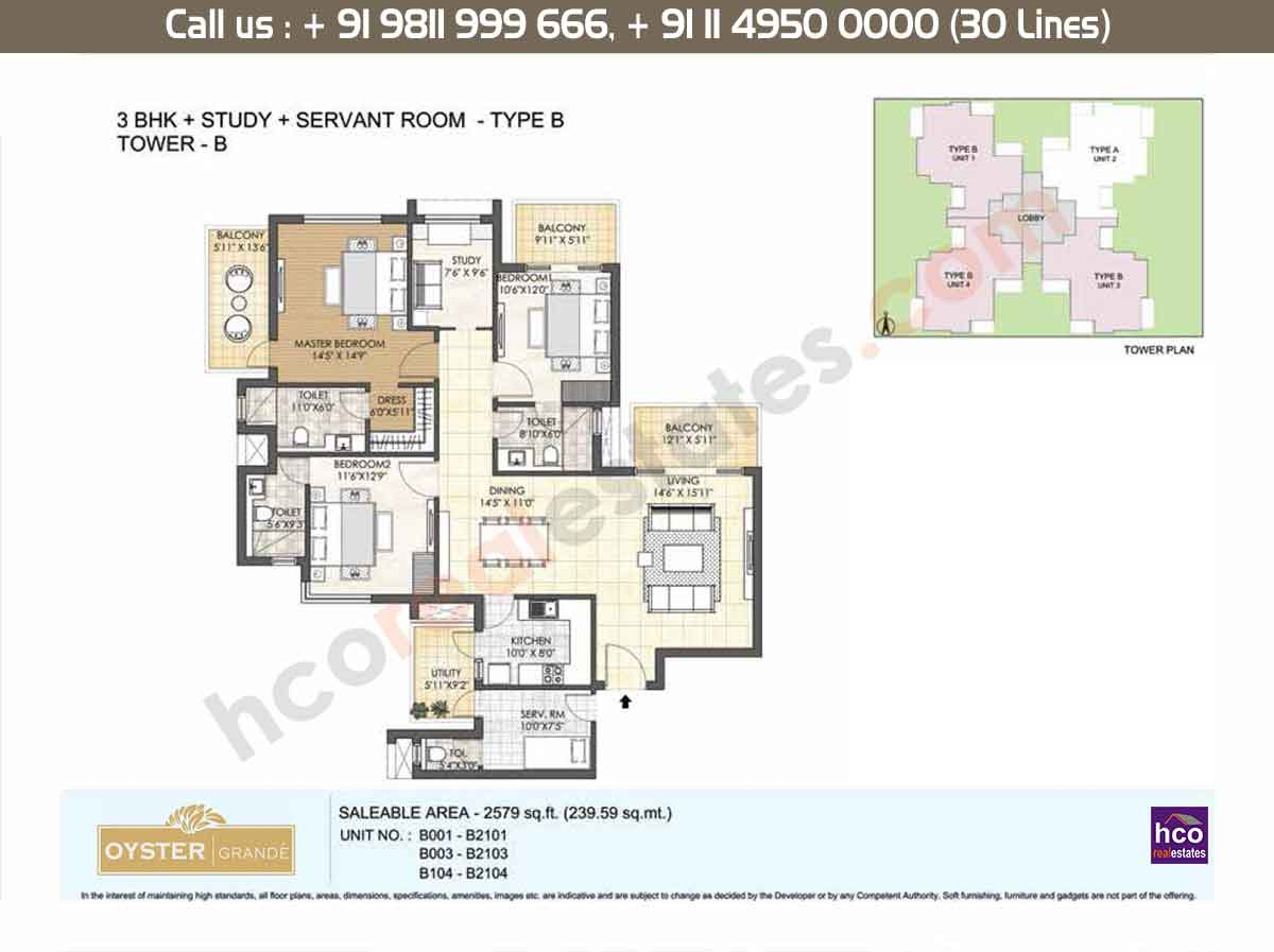 3 BHK + Study + SR, Type - B, Tower- B: 2579 Sq. Ft.
