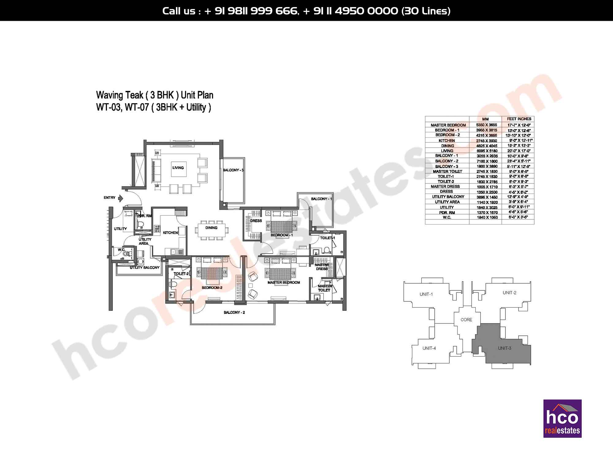 3 BHK - Small + Utility
