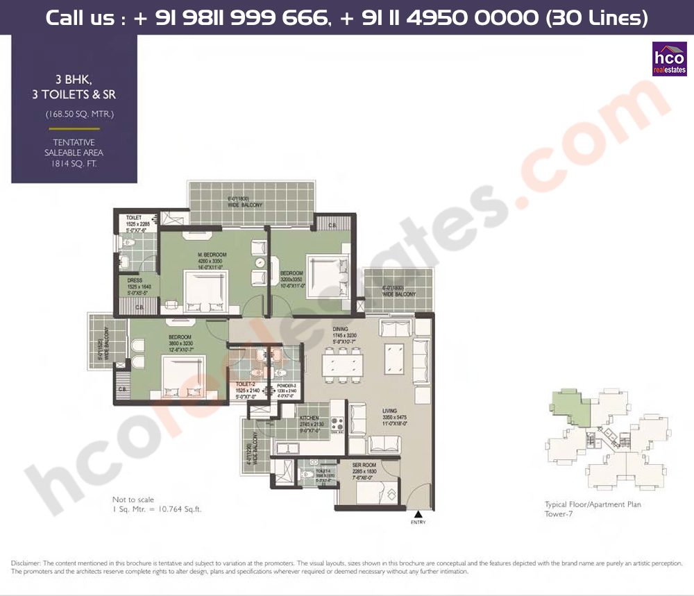3 BHK + 3T + Servant: 1814 Sq.Ft.