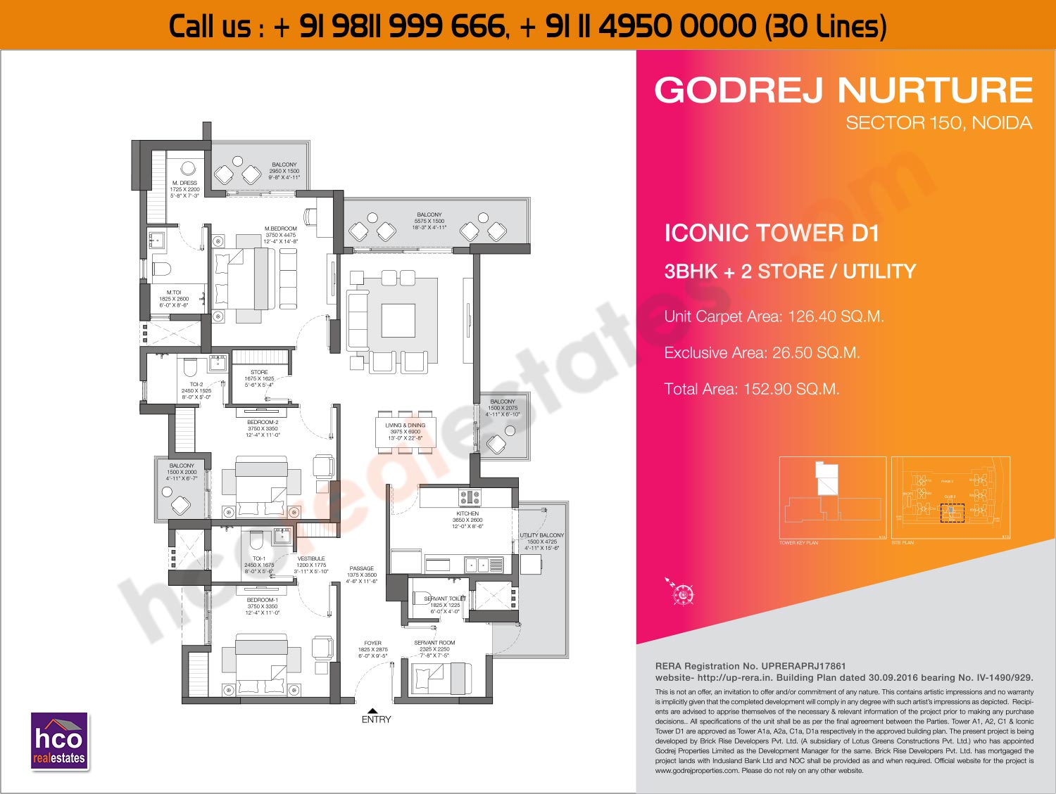 3 BHK + 2, Store  Utility  Iconic, Tower - D1
