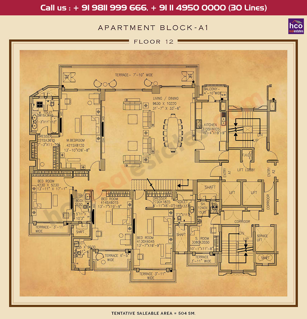 Twelfth Floor Plan : 5425 Sq.Ft.