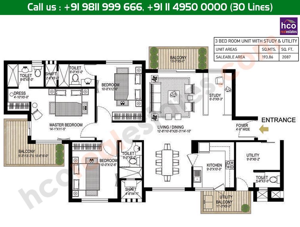 3 BHK + Utility + Study Floor Plan: 2087 Sq. Ft.