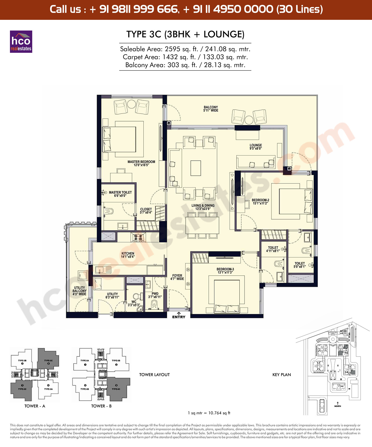 3 BHK + Lounge, Type -3C: 2595 Sq. Ft.