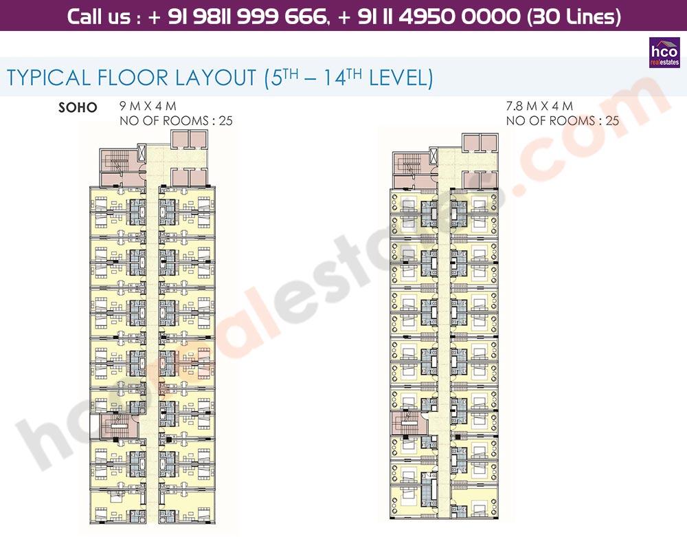 5th - 14th Floor Typical Floor Plan