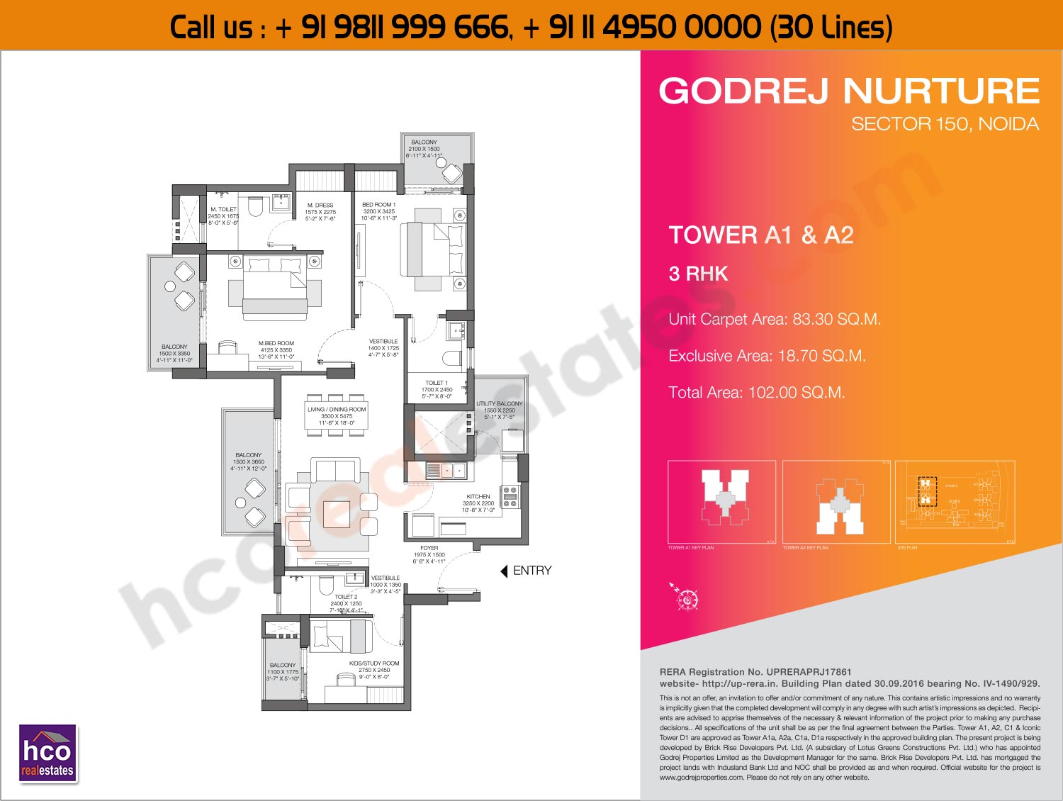 3 BHK, Tower - A1, A2