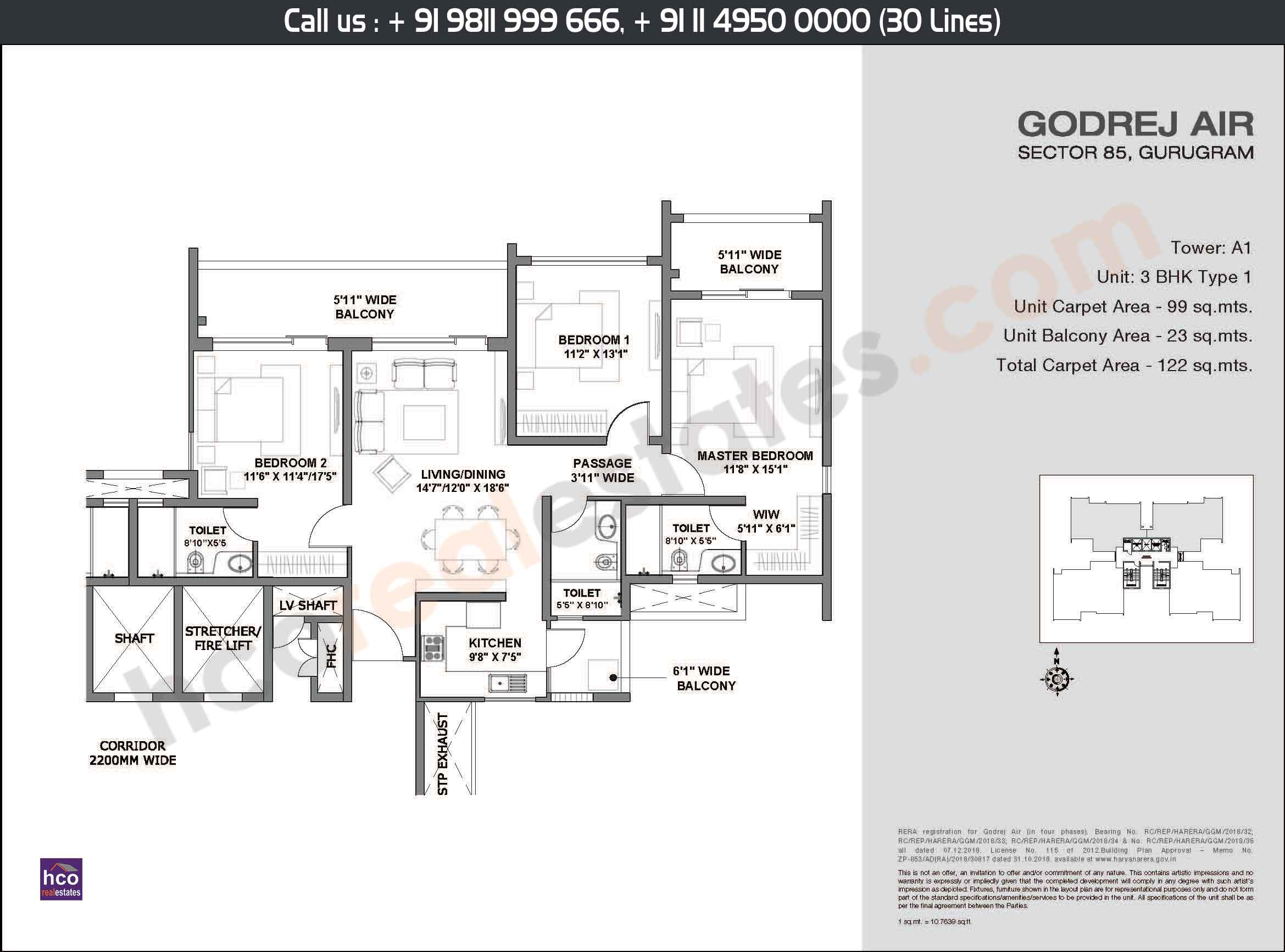 3 BHK, Type - 1, Area: 122 Sq. Mtr