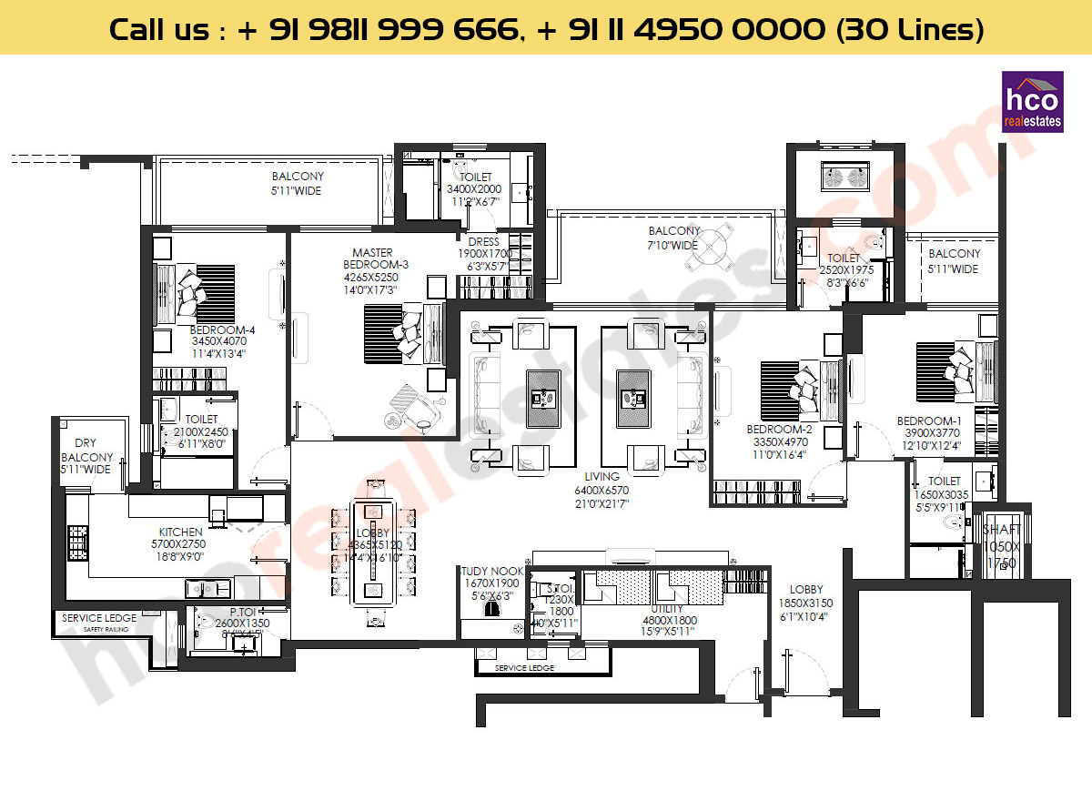 4 BHK : 3536 Sq. Ft.