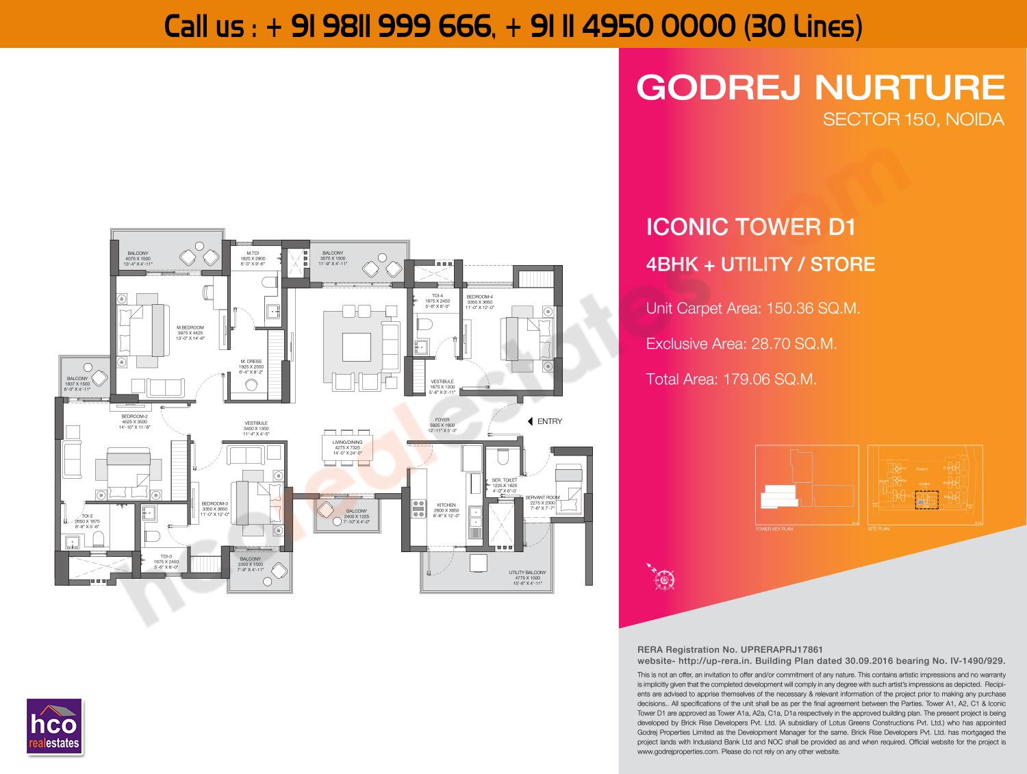 4 BHK + Utility Store Iconic, Tower - D1