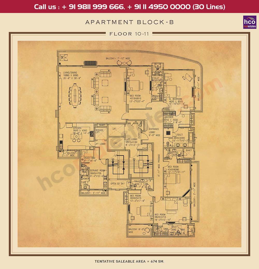 Tenth & Eleventh Floor Plan : 7255 Sq.Ft.