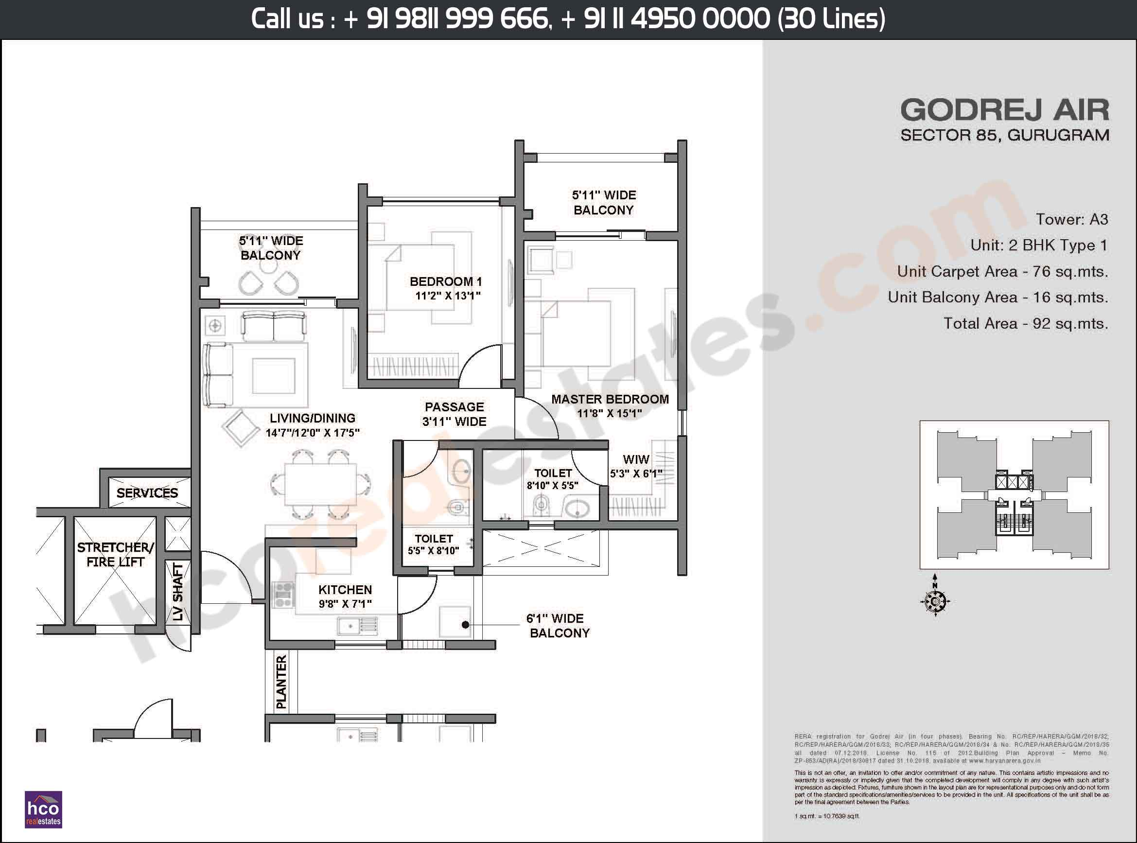 2 BHK, Type - 1, Area: 92 Sq. Mtr