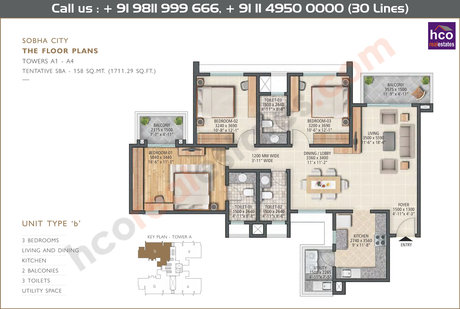 Type - B, Towers - A1, A2, A3, A4 : 1711 Sq. Ft.