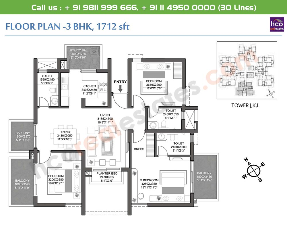 3 BHK: 1712 Sq.Ft.