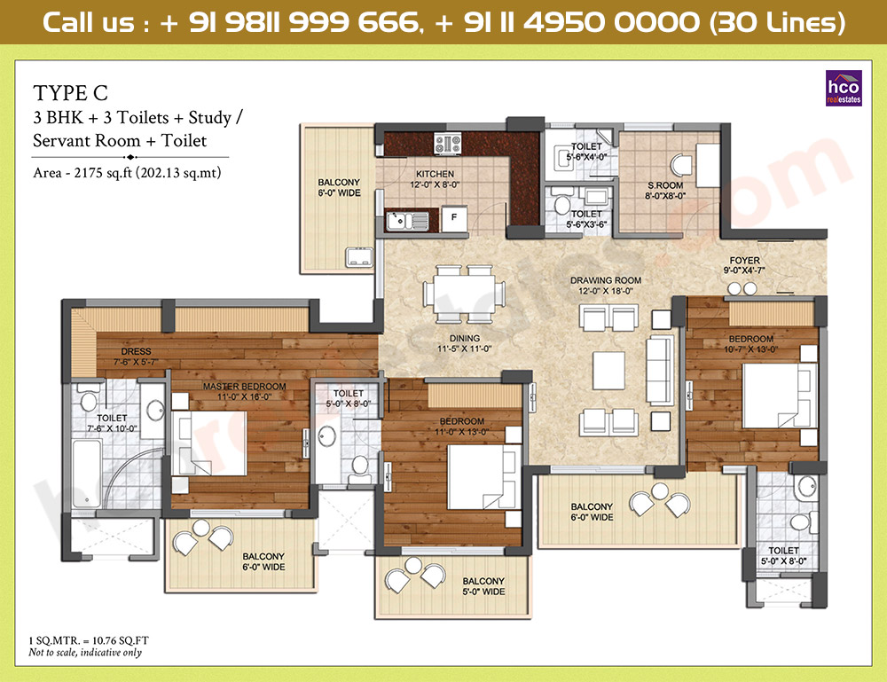 3 BR + 3 Toilets + Study / Servant Room: 2175 Sq.Ft.