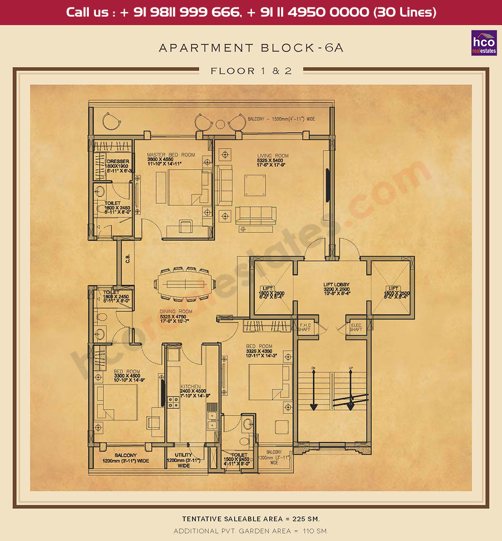First & Second Floor Plan : 2421 + 1184 Sq.Ft.