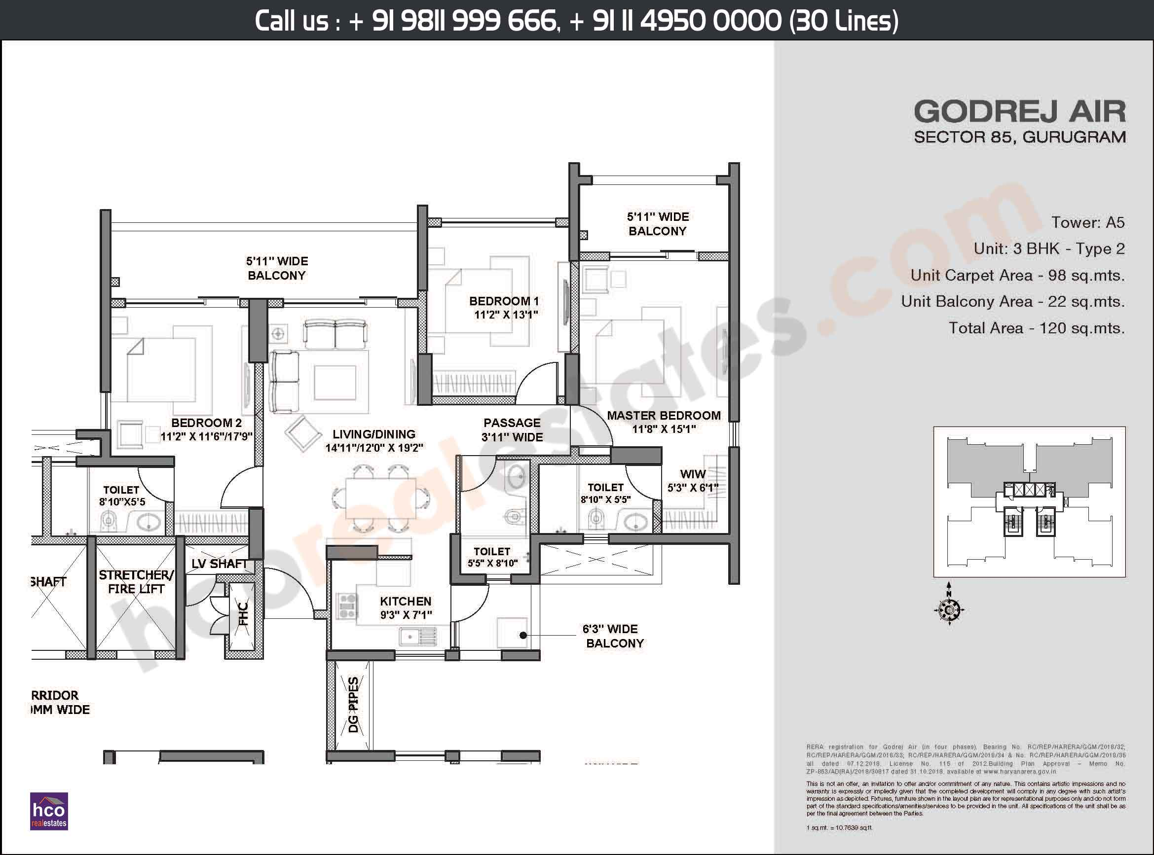 3 BHK, Type - 2, Area: 120 Sq. Mtr