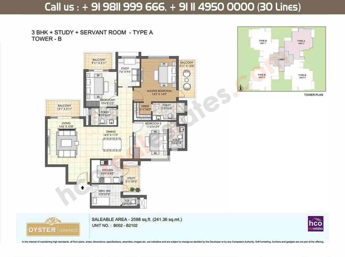 3 BHK + Study + SR, Type - A, Tower - B: 2598 Sq. Ft.