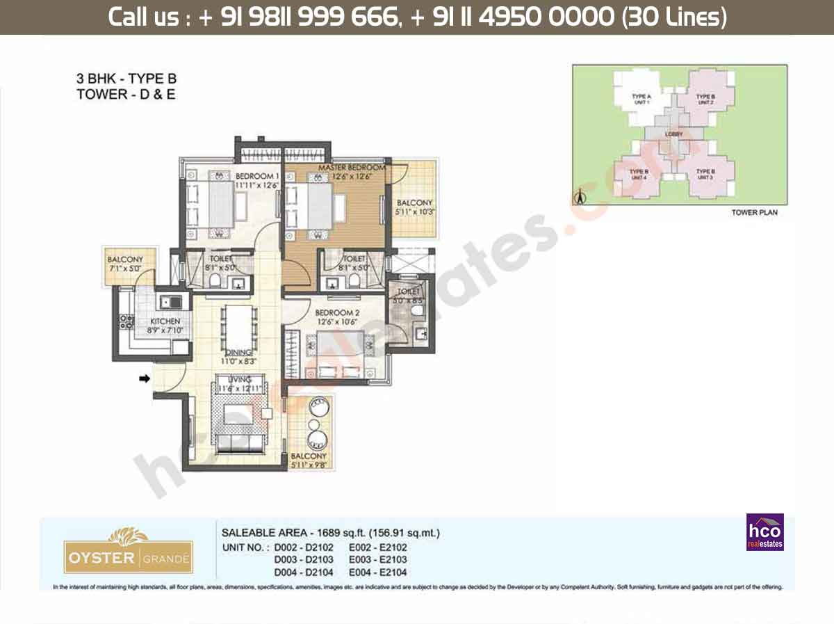 3 BHK - Type - B, Tower - D,E: 1689 Sq. Ft.