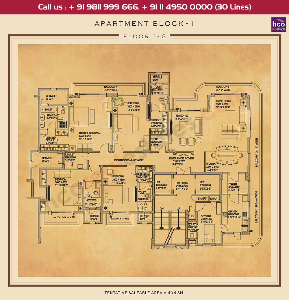 First & Second Floor Plan : 4349 Sq.Ft.