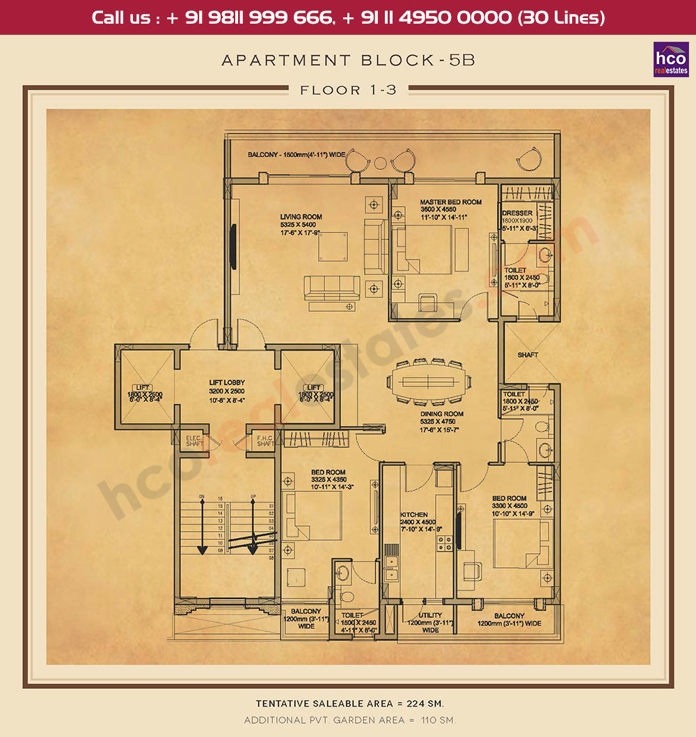 First, Second & Third Floor : 2411 + 1184 Sq.Ft.