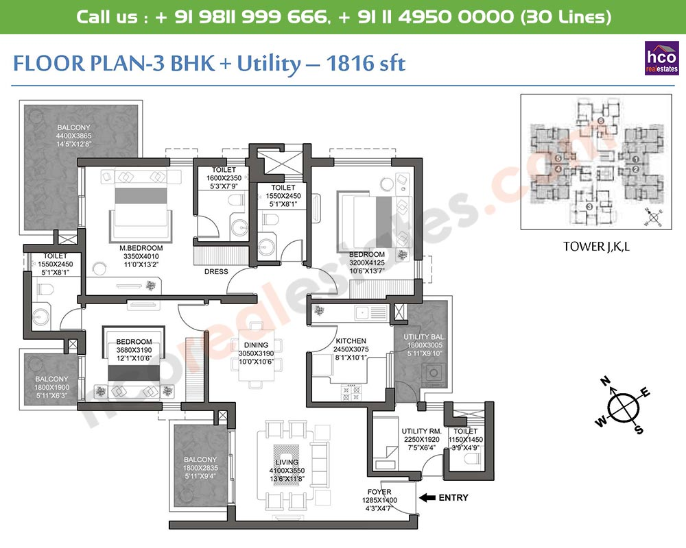 3 BHK + Utility: 1816 Sq.Ft.