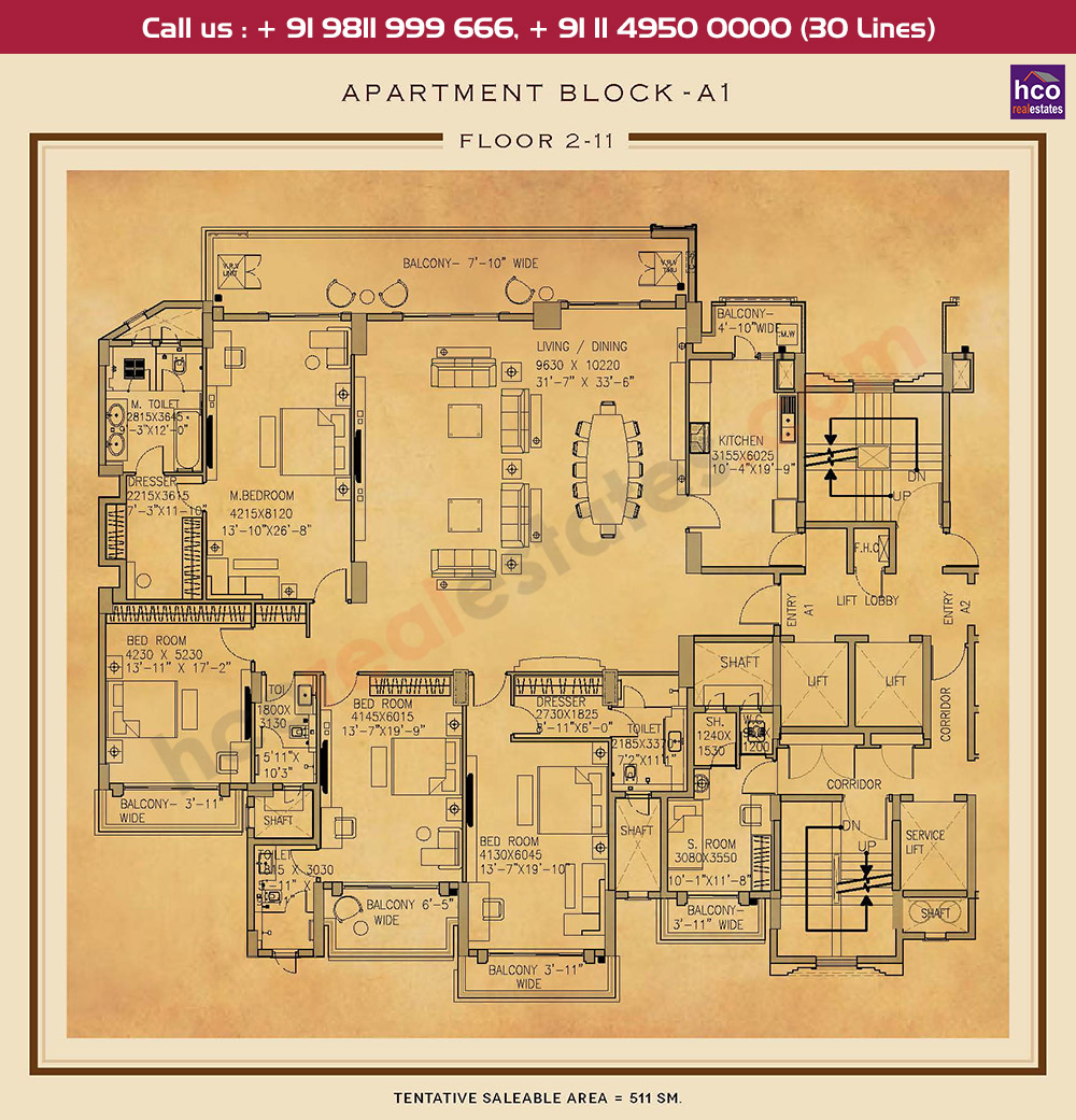 Second to Eleventh Floor Plan : 5500 Sq.Ft.