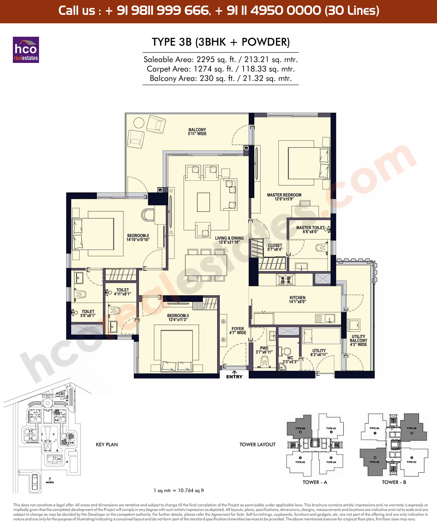 3 BHK + Powder, Type – 3B: 2295 Sq. Ft.