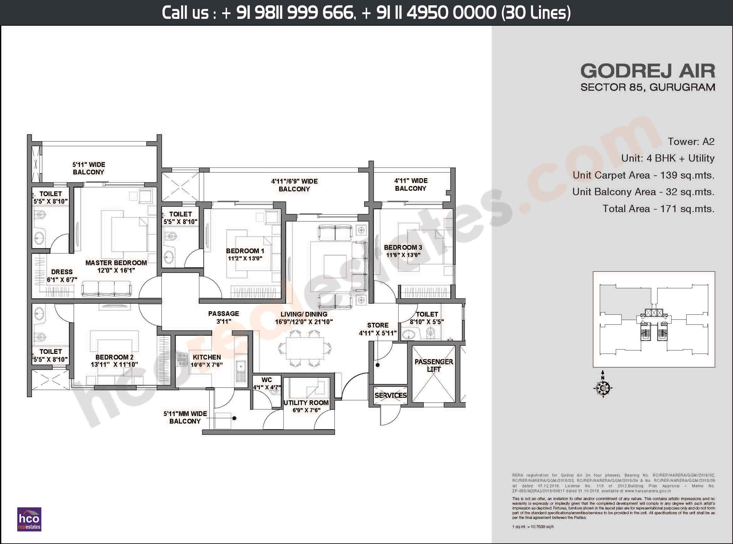 4 BHK + Utility, Area: 171 Sq. Mtr