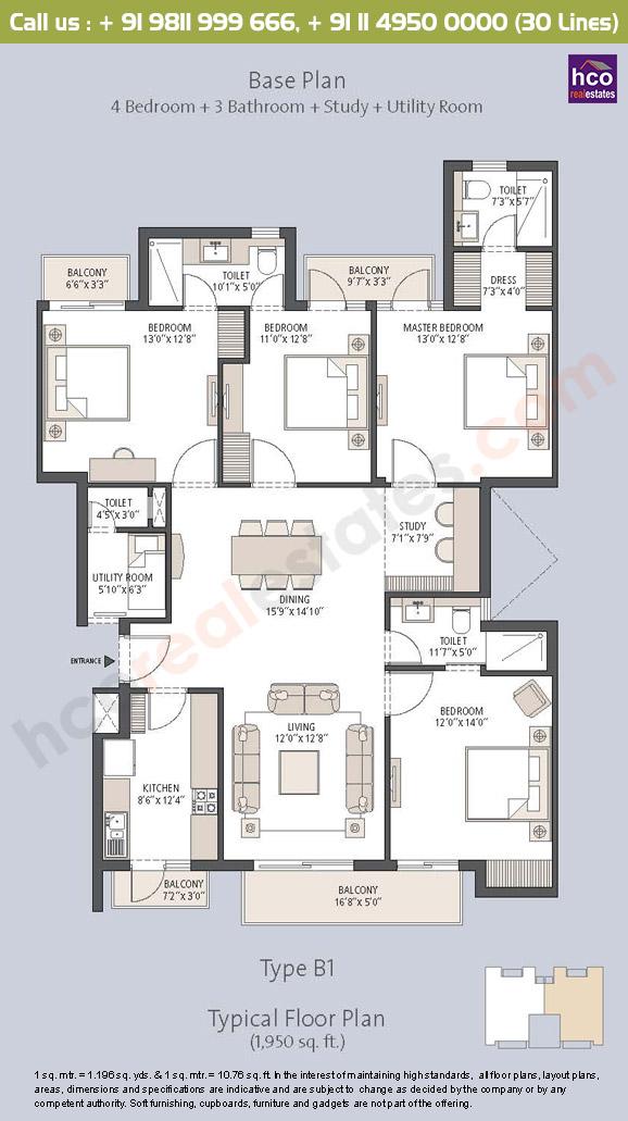 Floor Plan Layout Plan Of Emaar Palm Hills Gurgaon