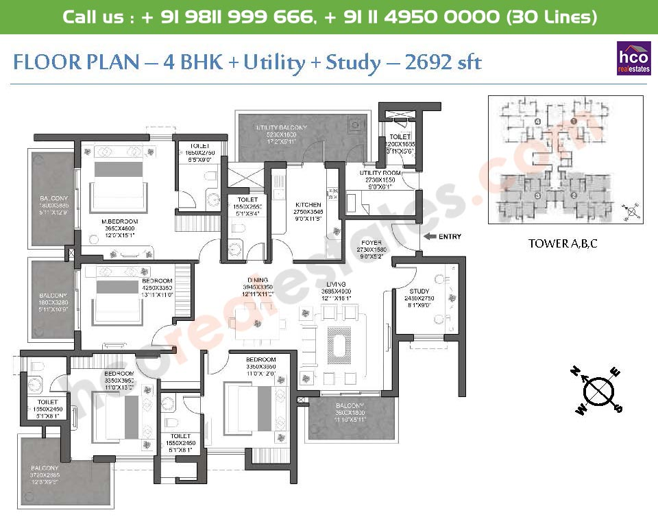 4 BHK + Utility + Study: 2692 Sq.Ft.