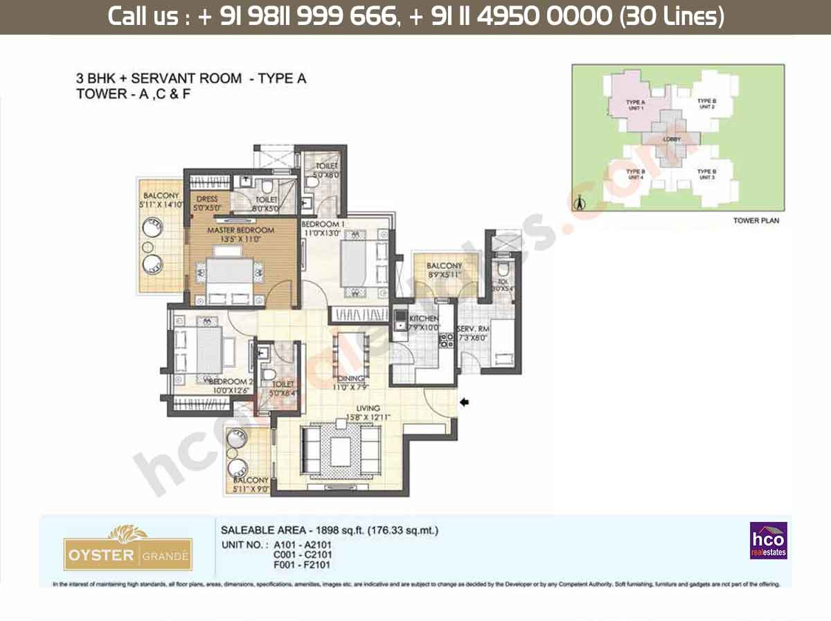 3 BHK + SR, Type - A, Tower - A,C,F: 1898 Sq. Ft.