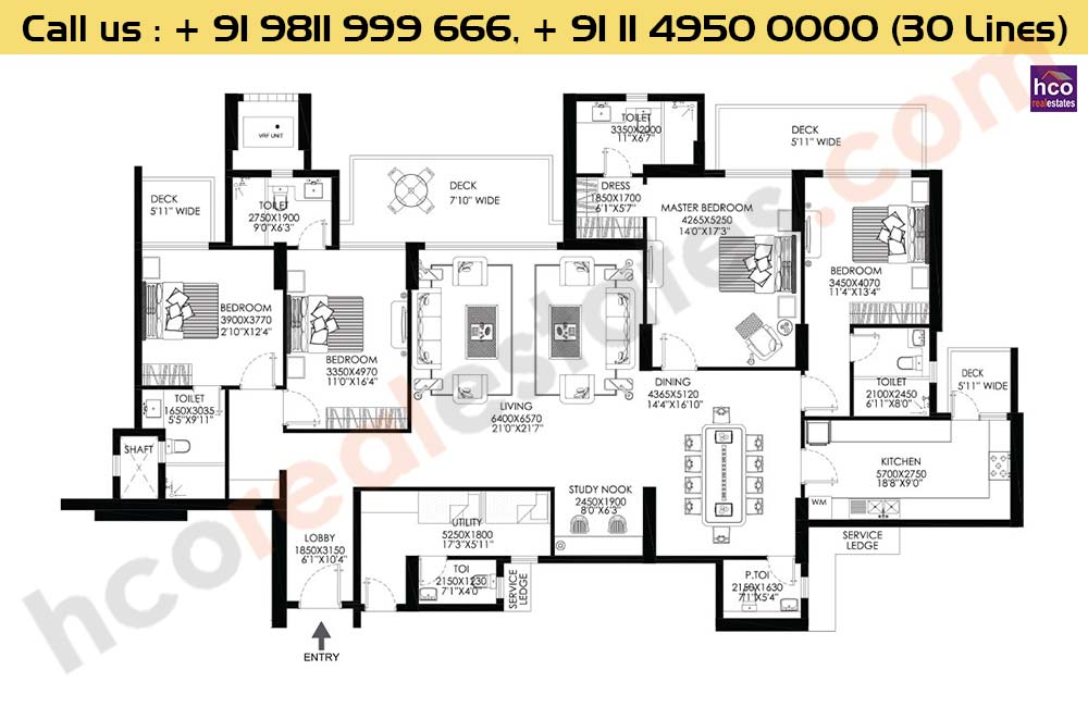 4 BHK+Utility Apt No 1, 2, 3, 4 Typical Floor : 3479 Sq.Ft.