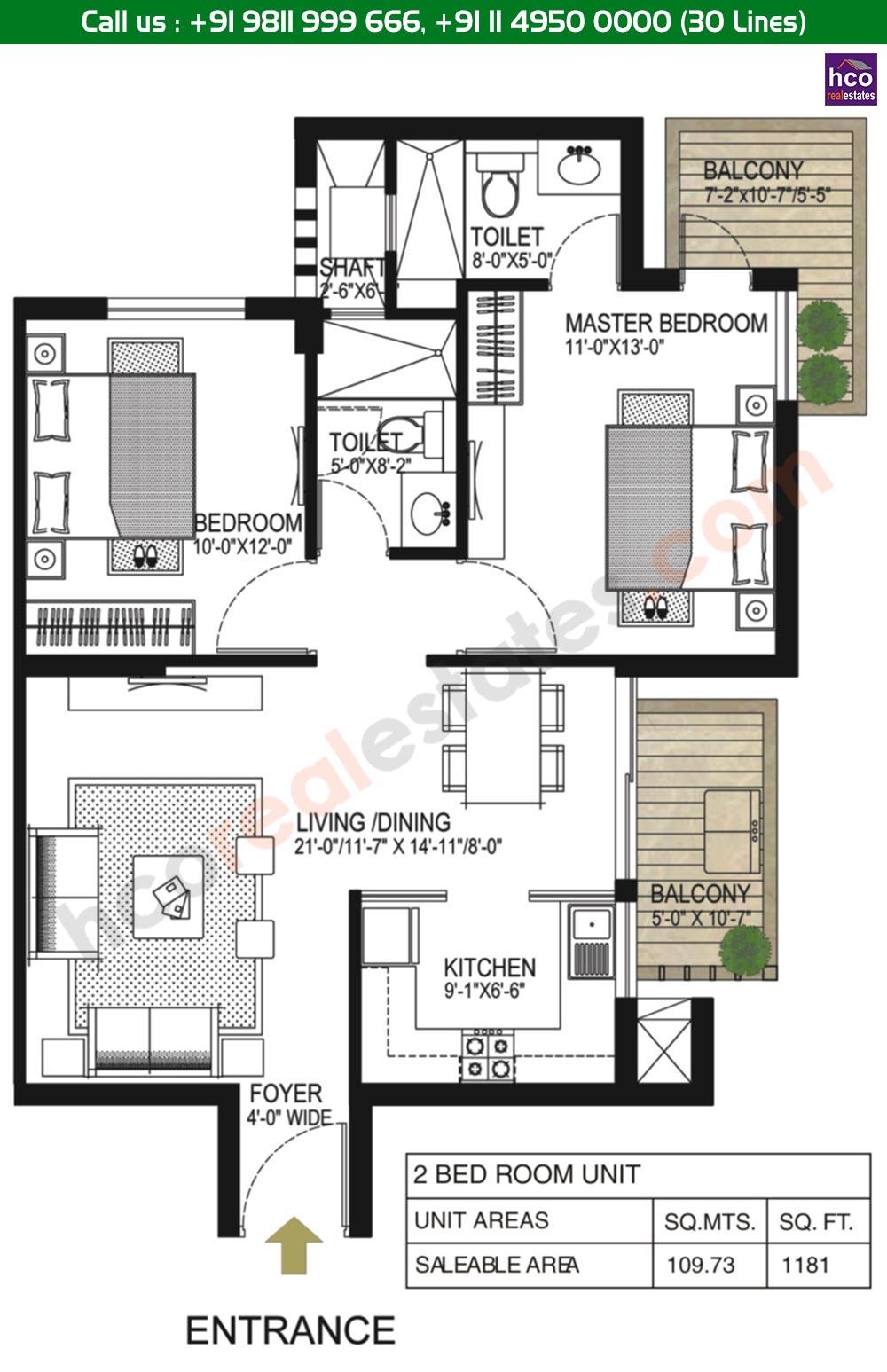 2 BHK Floor Plan: 1181 Sq. Ft.